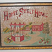 Antique Victorian Punch Paper Motto Sampler  Home Sweet Home   House  Landscape  Gazebo