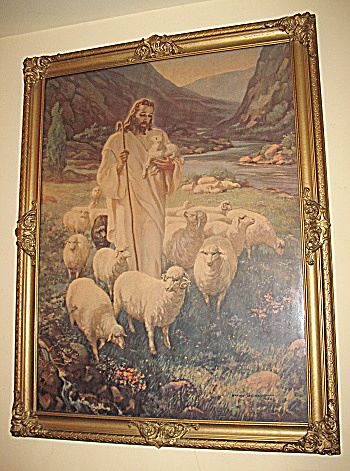 Vintage The Lord Is My Shepherd Jesus With Sheep Religious