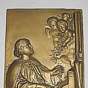 Vintage Religious Plaster Plaque of Saint Cecilia  The Holy Virgin Playing Organ  with 3 Angels