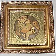 Vintage Madonna Della Sedia  Italian Religious Print  Madonna Baby Jesus  St John The Baptist  Famous Artist  Raphael Santi