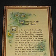 Vintage The Blessing of the Sacred Heart  Religious Floral Motto Print with  Pansies and Textured Details Circa 1920's