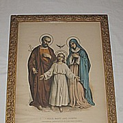 Enthronement Consecration Family Certificate Antique  Religious House Blessing  Print  with  Holy Family Scene