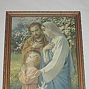 Vintage Religious Print Holy Family in Prayer   Endearing Inspirational Scene   Circa 1920's