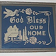 Vintage Bless Our Home Mixed Media House Blessing Hand Decorated with Original Silver Glitter Circa 1920's