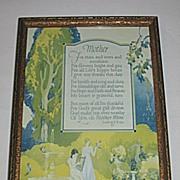 Vintage Mother Motto  Floral Print   Poet  Ludvig S. Dale