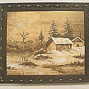 Antique Victorian  Captivating Winter Scene Watercolor Painting Circa 1890's
