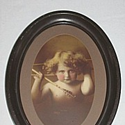 Cupid Awake   Angelic Antique Sepia Print  Listed Artis : M.B. Parkinson