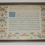 Vintage The Twenty Third Psalm  Religious Buzza Motto Print Circa 1920's