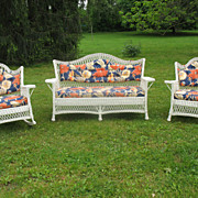 Vintage 3 Piece Bar Harbor Wicker Parlor Set Circa 1920's