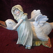 Antique Victorian Little Girl With Goose Bisque Figurine Circa 1900