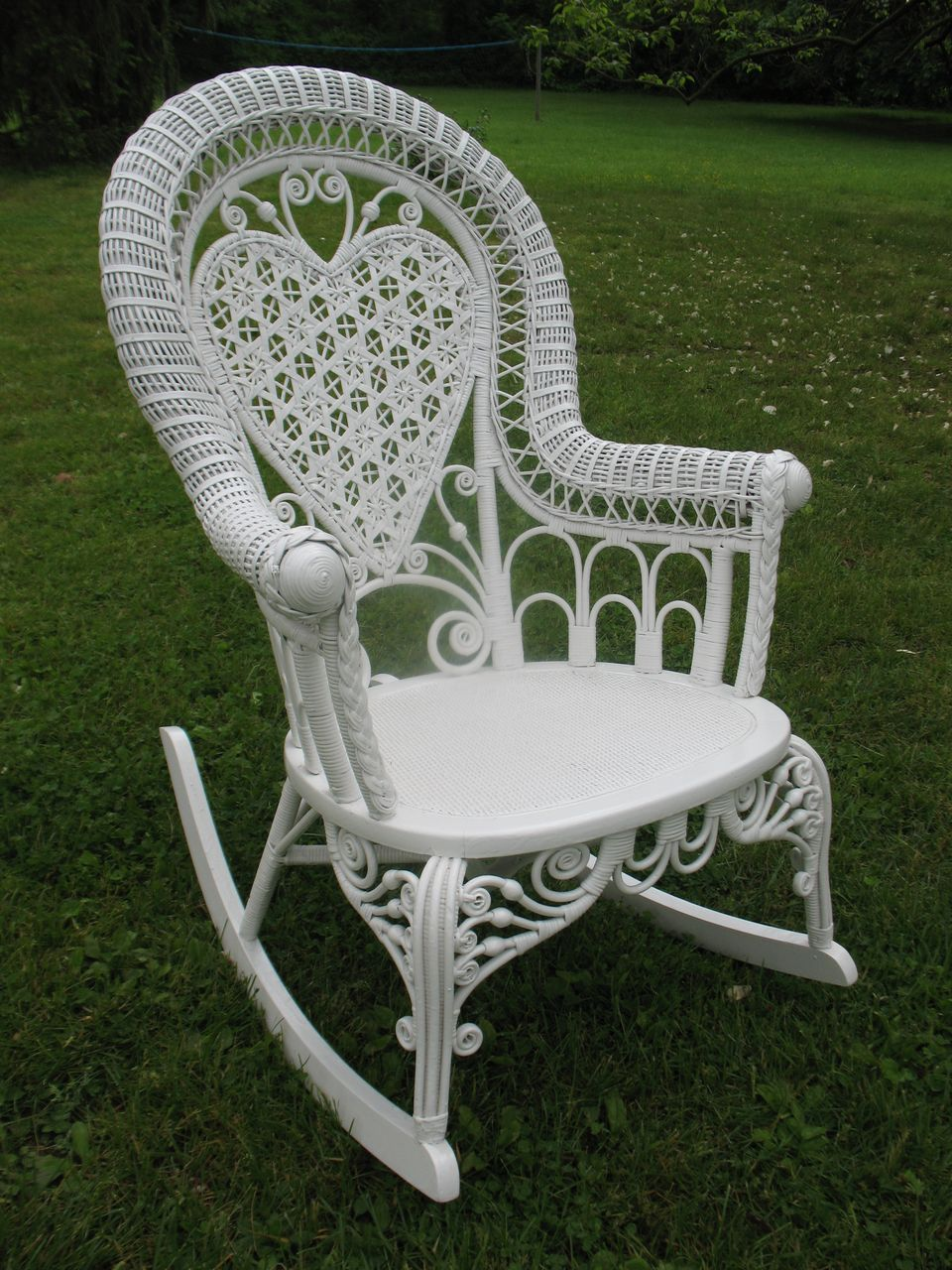 Antique Large Heart Back Victorian Gentleman's  Wicker Rocker