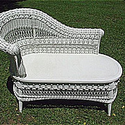 Ornate antique victorian wicker settee from dovetail on for Victorian divan