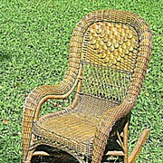 Fancy Natural Antique Victorian Wicker Child's Rocker Heywood Brothers and Company Circa 1890's