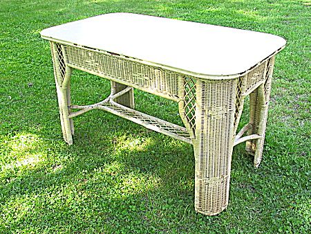 Vintage Art Deco Wicker Library Table Heywood Brothers And Wakefield  Company Circa 1920u0027s