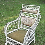 Rare Antique Victorian Wicker Arm Chair Circa 1880's
