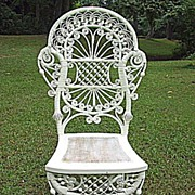 Rare and Ornate Antique Victorian Wicker Reception Chair Heywood Brothers and Company Circa 1880's