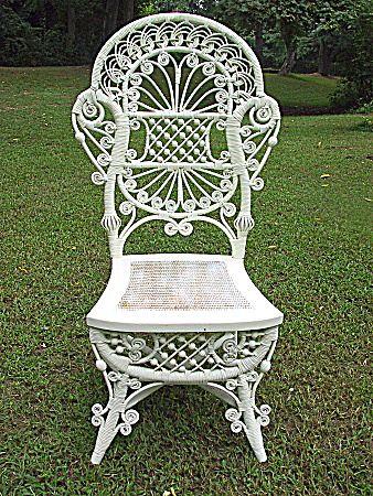 Rare And Ornate Antique Victorian Wicker Reception Chair