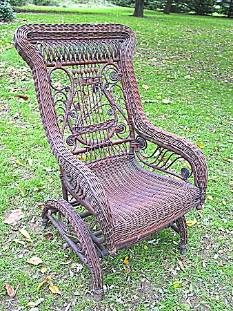 Rare Natural Antique Victorian Wicker Platform Rocker From