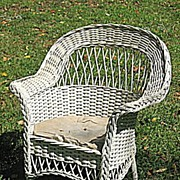 Vintage Child's Bar Harbor Wicker Arm Chair Circa 1920's