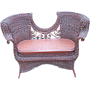 Rare Antique Victorian Ornate Natural Wicker Settee Circa 1890's