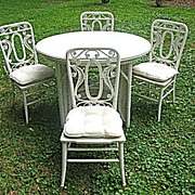 Rare Antique Victorian Wicker Table with 4 Matching Chairs