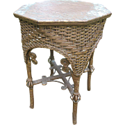 Fancy Antique Victorian Wicker Tabouret Table Circa 1890's