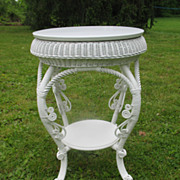 Antique Round  Victorian Wicker Table Circa 1890's