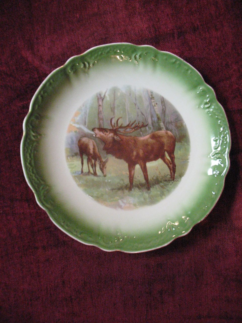 Antique Porcelain  Transferware Elk Game Plate Circa 1900