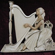 Vintage Lady with Harp Large Chalkware Hanging Plaque