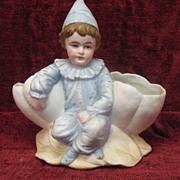 Antique Victorian Little Boy Bisque Figurine/Toothpick Holder