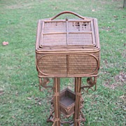 "Rare and Special Antique Victorian Wicker ""House"" Sewing Stand Circa 1880's"