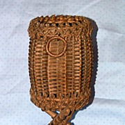 Antique Wicker Victorian Natural Footed Wine Bottle Holder Circa 1880's