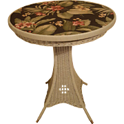 Vintage Round Art Deco Wicker Pedestal Table Circa 1920's