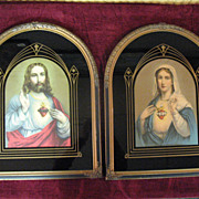 Matching Pair of Sacred Heart Prints Virgin Mary and Jesus