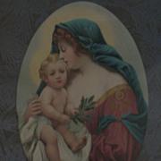 Vintage Virgin Mary Holding Infant Jesus Print Circa 1920's