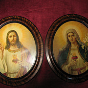 Large Antique Matching Pair of Jesus and Mary Sacred Heart Lithographs