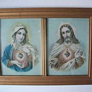 Vintage Sacred Heart Jesus and Mary Prints in Double Frame Circa 1910