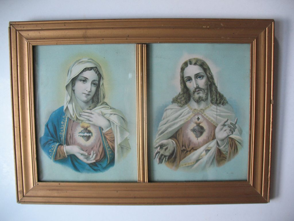 vintage sacred heart jesus and mary prints in double frame circa 1910 - Double Picture Frame