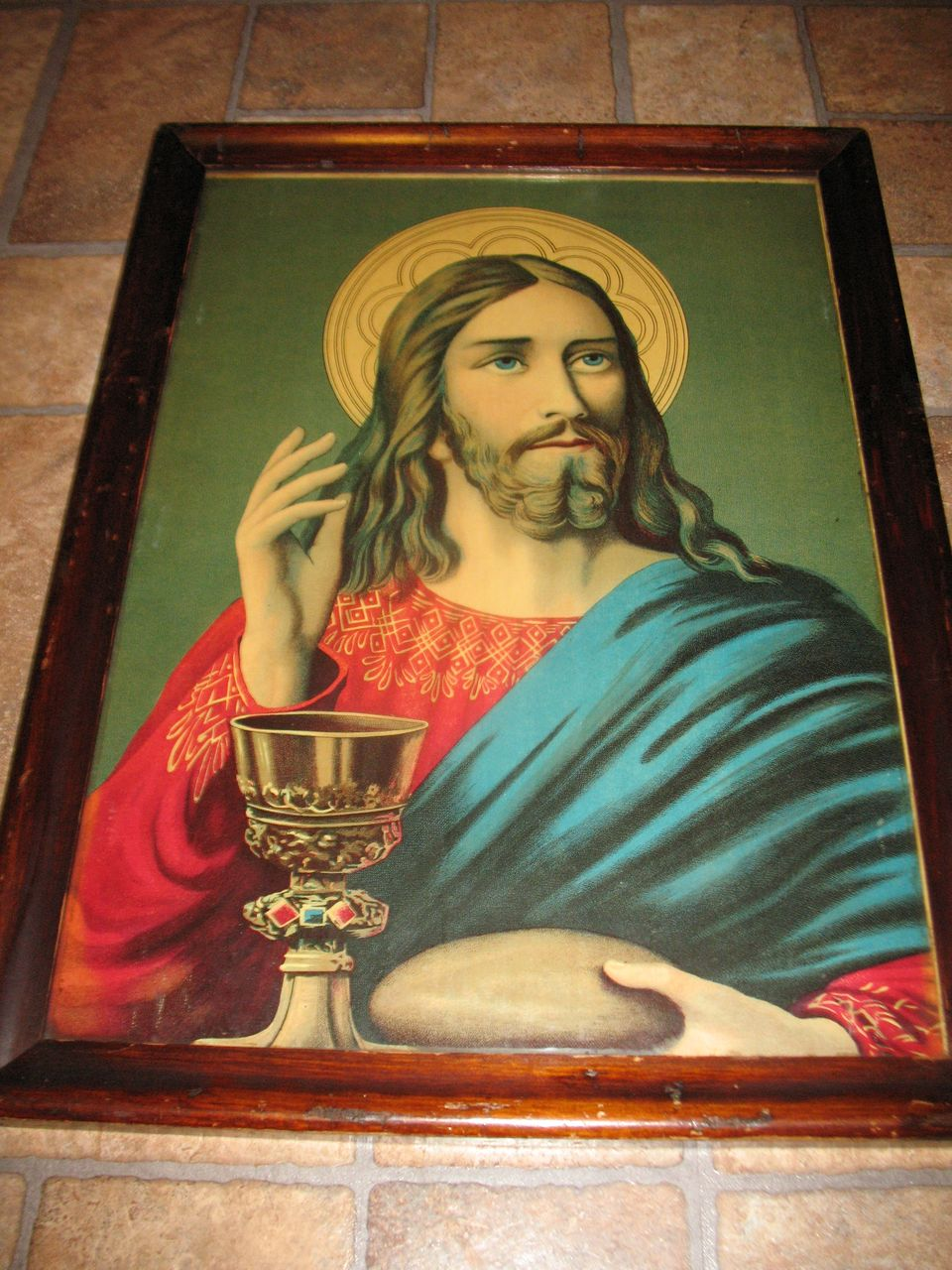 Antique Victorian Lithograph Christ Blessing Bread and Wine Circa 1900