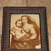 Vintage The Sistine Madonna Sepia tone Print   Artist Raphael