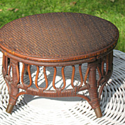 Antique Victorian Natural Wicker Foot Stool
