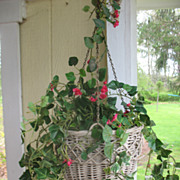 Vintage Wicker Hanging Flower Basket