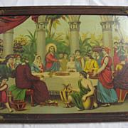 Rare   Antique Victorian Religious ChromoLithograph of Jesus and Mary at a Table with Many Others