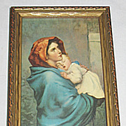 Vintage Madonna of the Street Virgin Mary Holds Sleeping Infant Jesus  Religious Print Artist Roberto Ferruzzi