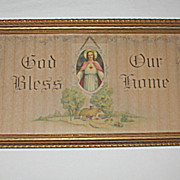 "Vintage Religious House Blessing w/ Jesus Print ""God Bless Our Home"""