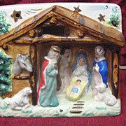 Vintage Porcelain Religious Nativity Scene Lamp