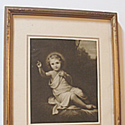 Vintage Religious Print Child Jesus Laying on Straw Sepia Print Circa 1920's