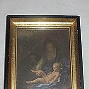 Vintage Rest on the Flight into Egypt  The Holy Family Mary  Jesus and  Joseph  Small  Religious Print  Artist  Adriaen van der Werf Circa 1920's