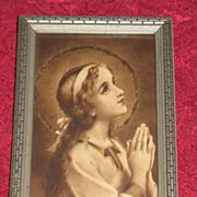 Vintage Religious Print Mary Praying Circa 1920's