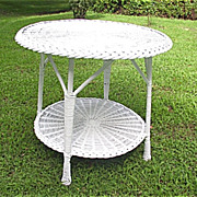 Vintage Large Bar Harbor Round Wicker Table Circa 1920's